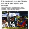Estudiantes afirman que Chávez regresó al país gracias a su protesta